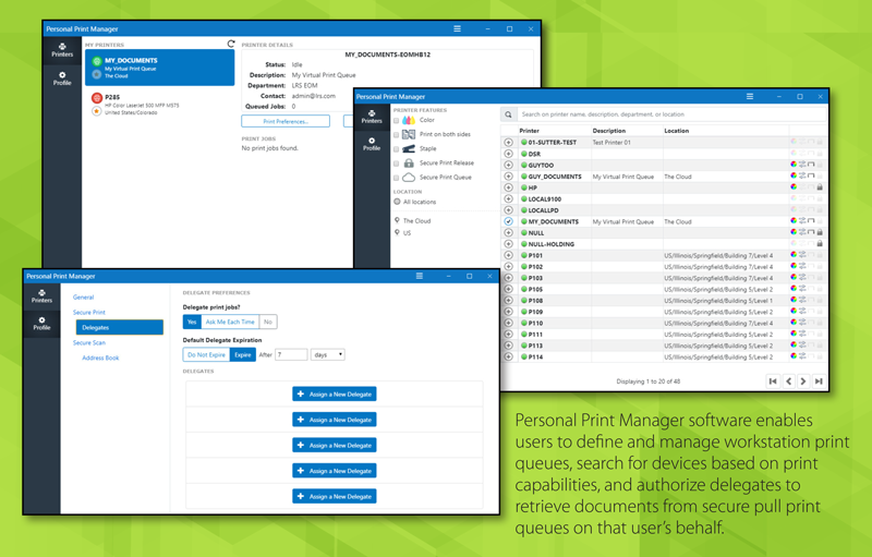 Example views of LRS Personal Print Manager